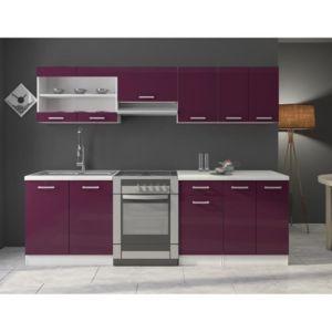 jasny cuisine complete 240 cm laqu e aubergine pas cher achat vente rueducommerce. Black Bedroom Furniture Sets. Home Design Ideas