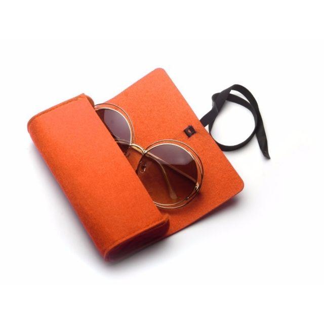 5c608b4648b932 Wewoo - Pour lunettes de soleil   orange lunettes Feutre étui de protection  à glissière
