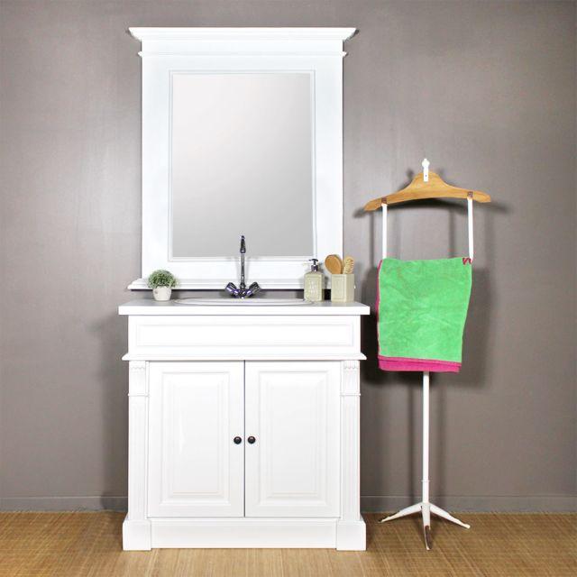 made in meubles meuble salle de bain bois 1 vasque 2 portes 1 tagre - Meuble Salle De Bain Bois 1 Vasque