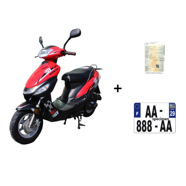 eurocka scooter cka city 50cc 4t noir rouge immatriculation achat vente scooters 50 pas. Black Bedroom Furniture Sets. Home Design Ideas