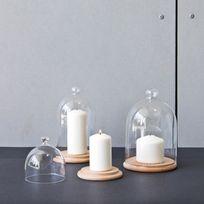 Comingb - Plateau de présentation en bois avec cloche en verre Natur