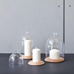 Comingb - Plateau de pr_Ecute_sentation en bois avec cloche en verre Natur - Petit modèle