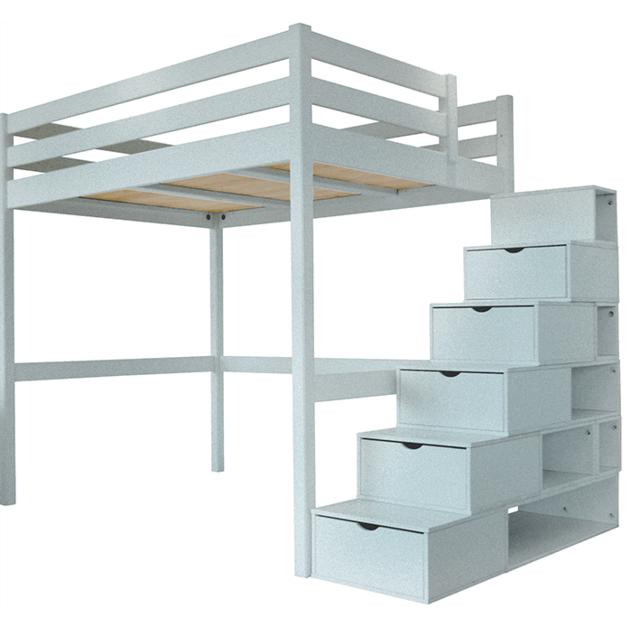 Abc Meubles - Lit Mezzanine Sylvia avec escalier cube pin massif ...