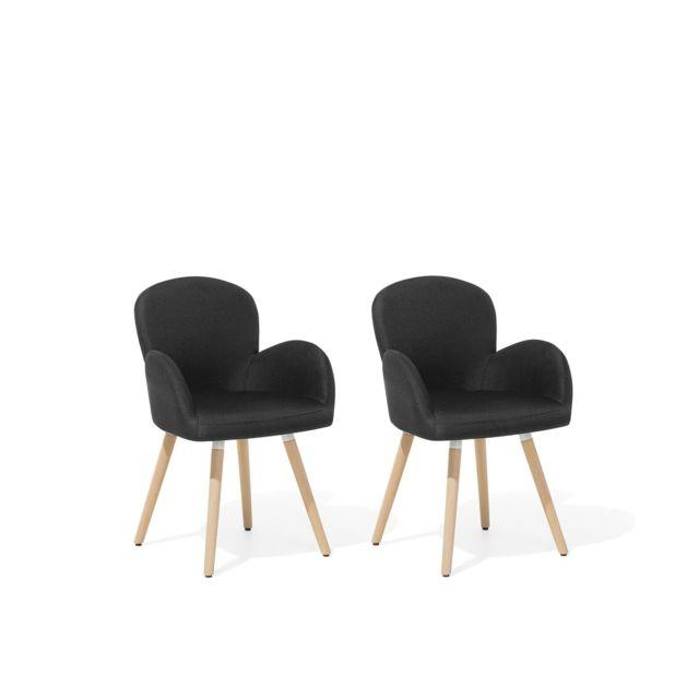 Lot de 2 chaises en tissu noir BROOKVILLE noir