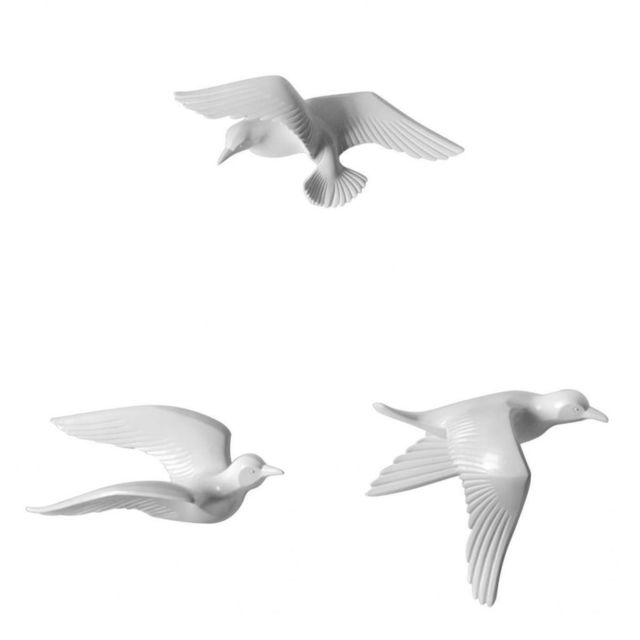 3pcs résine Seagull en forme de chambre Tv fond maison décorations murales blanc