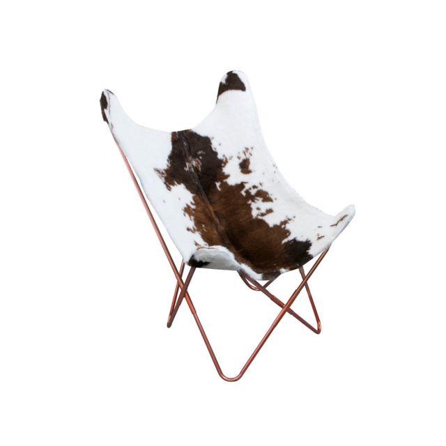 Fauteuil papillon piétement croisé en métal et toile fourrure vache BUTTERFLY