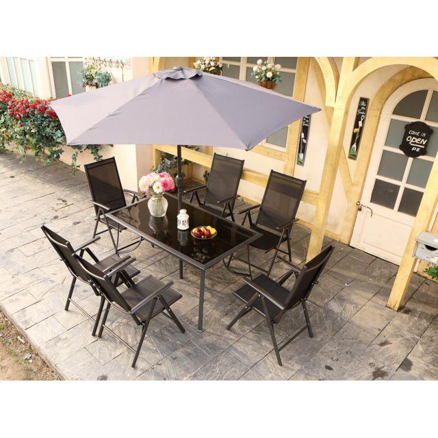 Pompéi 6 : Salon de jardin en aluminium et textilène + parasol