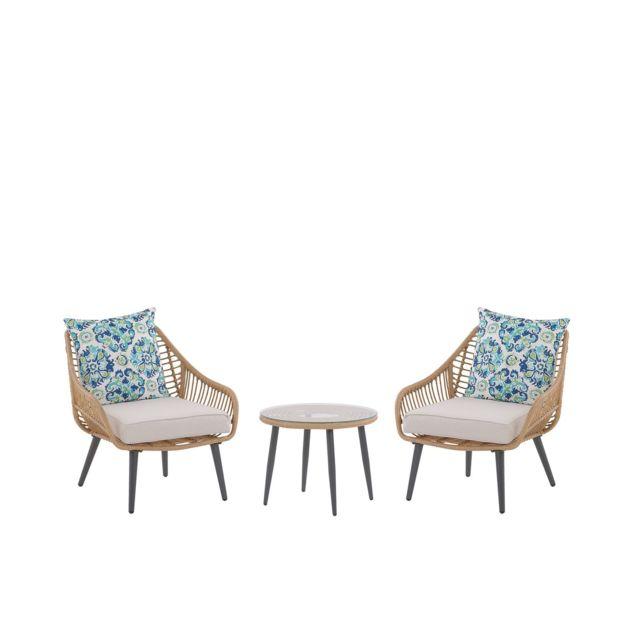 BELIANI Set de jardin table et 2 fauteuils en rotin beige LAURETO