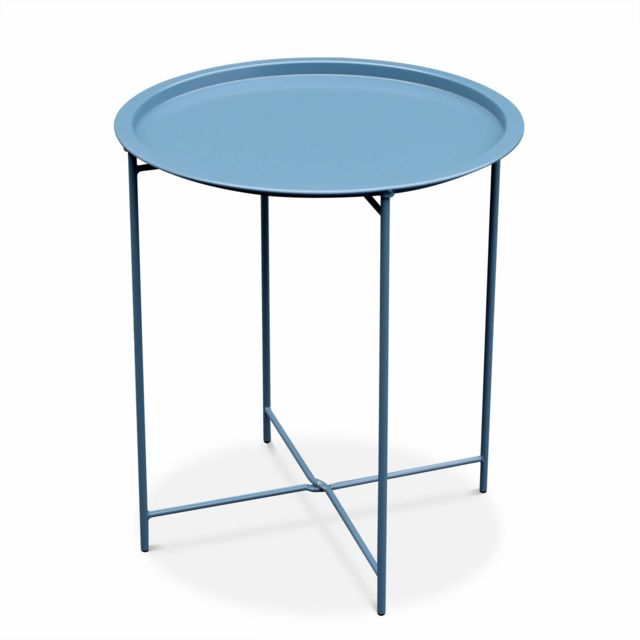 alice 39 s garden table basse ronde alexia bleu gris table d 39 appoint ronde 46cm acier. Black Bedroom Furniture Sets. Home Design Ideas