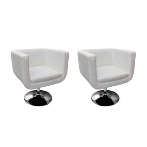 Vidaxl Fauteuil Design Club Blanc x2