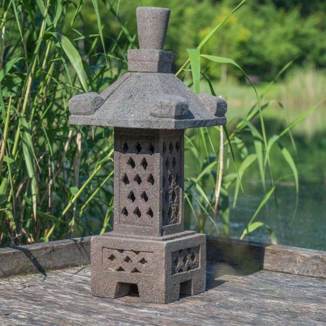 wanda collection lampe japonaise en pierre de lave 75cm pas cher achat vente lanternes et. Black Bedroom Furniture Sets. Home Design Ideas