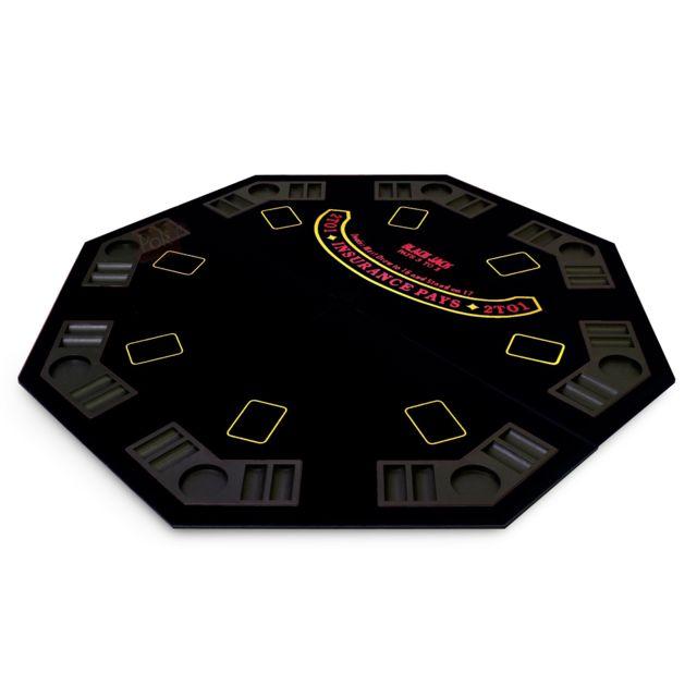 Pokeo Plateau de poker octogonal 8 joueurs noir