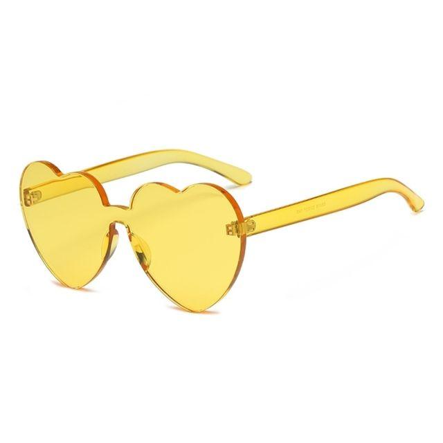 Lunettes de soleil jaune pour femmes Lunettes de en forme de cœur sans monture Uv400