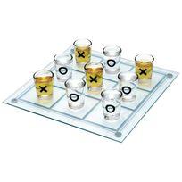 Totalcadeau - Boîte de jeu plateau de Morpion à shooters 9 verres à shot