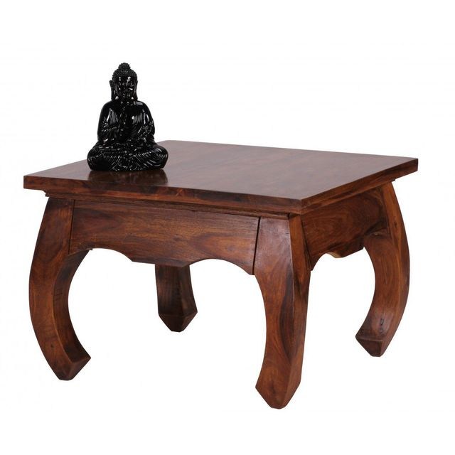 COMFORIUM Table basse 60 X 60 cm en bois massif sheesham design oriental