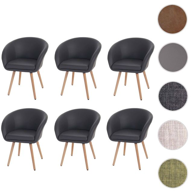 Mendler 6x chaise de salle à manger Malmö T633, fauteuil, design rétro des années 50 ~ similicuir, gris