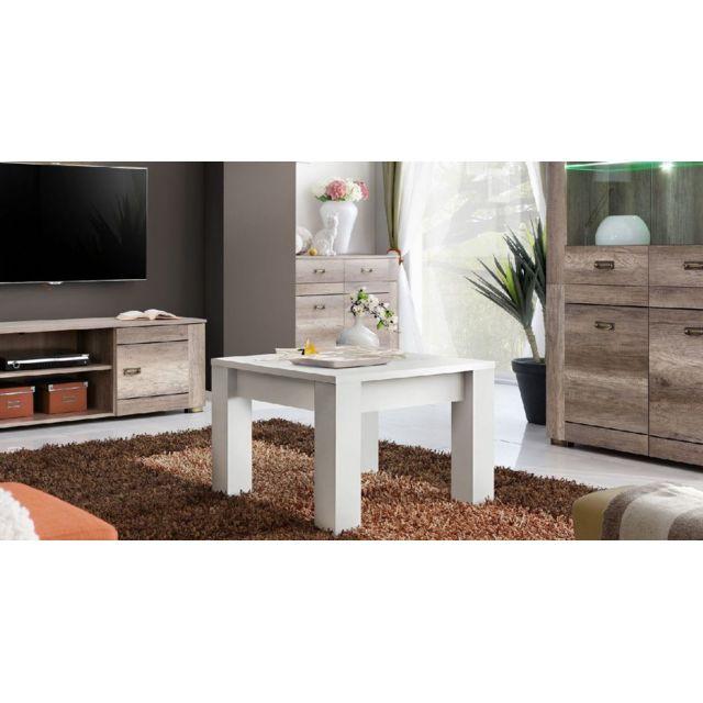Homemania Table Basse Amsterdam - pour Séjour, Canapé - Blanc en Bois, 67 x 67 x 47 cm