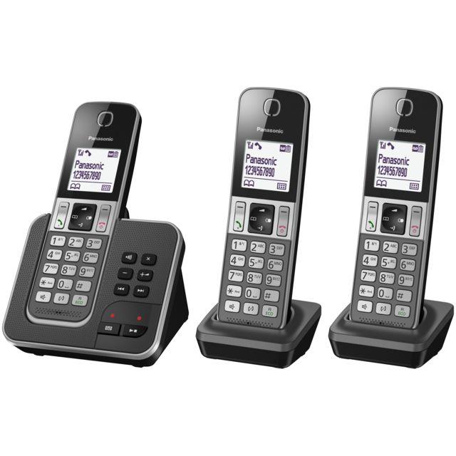 panasonic t l phone fixe sans fil avec r pondeur kx tgd323frg trio noir pas cher achat. Black Bedroom Furniture Sets. Home Design Ideas