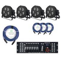 Showlite - Flp-5x9W projecteur 4 x set, y compris le contrôleur Dmx Master pro + statif + câble