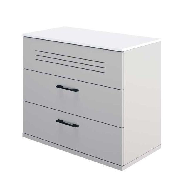 Tousmesmeubles Commode 3 tiroirs Blanc/Gris - Moonla