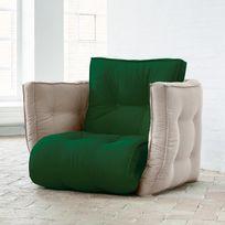 Karup - Chauffeuse bicolore convertible matelas futon Dice Futon Chair - Vert/Beige