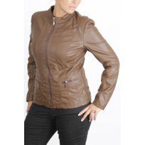 Veste simili cuir femme camel taille 52