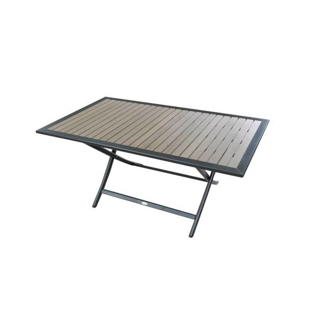 Dcb - Table De Jardin Pliante En Aluminium Et Bois Composite Clair ...