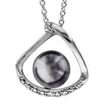 1001BIJOUX - Collier argent rhodié perle synthétique grise avec oxydes blancs sertis 40+4cm