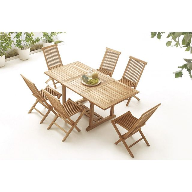 Bobochic Table rectangle 6 chaises Teck Brut Massif