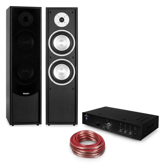 AUNA Linie-300 Bluetooth Set hifi amplificateur & enceintes sur pied - noir