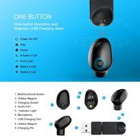 Alpexe - Mini Oreillette Bluetooth 4.1 avec Edr Casque sans Fil Ecouteur Mains-libre avec Microphone pour iPhone 7, 7 plus, 6, 6 plus, 6s, Huawei, Android Smartphones,Tablettes etc. uniquement pour l'oreille droite