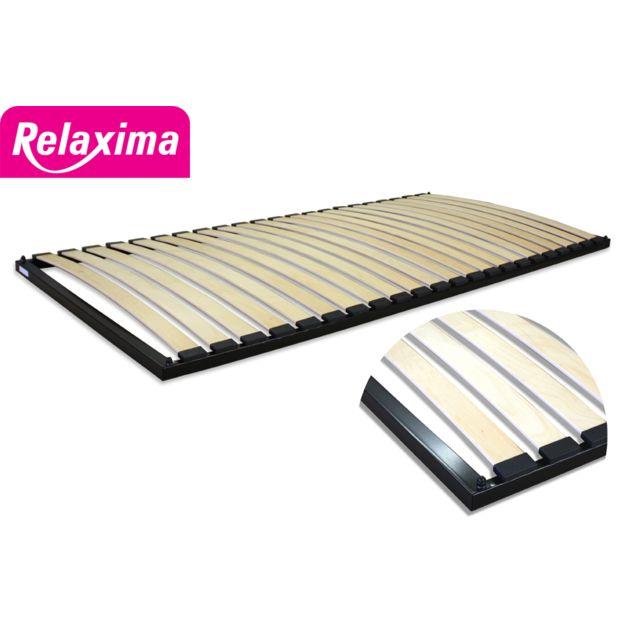 Relaxima - Cadre à lattes Sun 90-140-160 cm : fabrication française, 7 cm, 22 lattes multiplis Noir