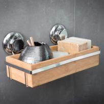 Best lock - Support salle de bain mural en bambou et acier chromé 27.6x14.8x12.7cm Spa