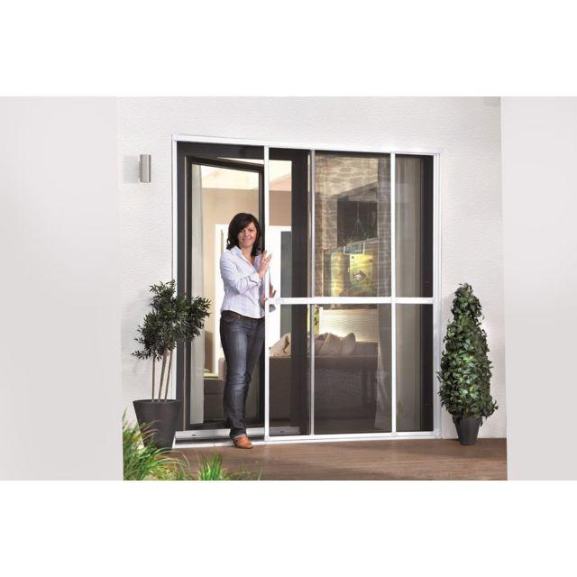 empasa moustiquaire coulissante baie vitr e smart 2 panneaux alu blanc l230 x h240 cm pas. Black Bedroom Furniture Sets. Home Design Ideas