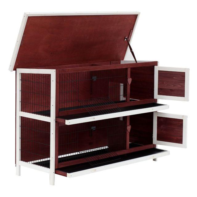 PAWHUT - Clapier sur pieds cage à lapin double niveau plateaux excréments  coulissants 4 portes verrouillables 5dbfb7555f7b