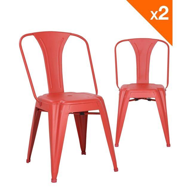 chaise metal industriel Brook Lot de 2 chaises bistrot Rouge