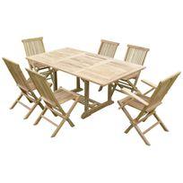 Teck'LINE - Ensemble salon de jardin en teck Sunang 4 chaises 2 fauteuils Jenae