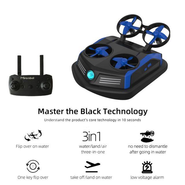 Generic Mirarobot Domain S200 Mini Drone Télécommande Bateaux Voiture 3-en-1 Mode Mer-Terre-Air Commutateur Étanche Aéroglisseur