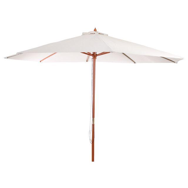 Mendler - Parasol en bois, parasol de jardin Florida, parasol de marché, 3,5m ~ crème