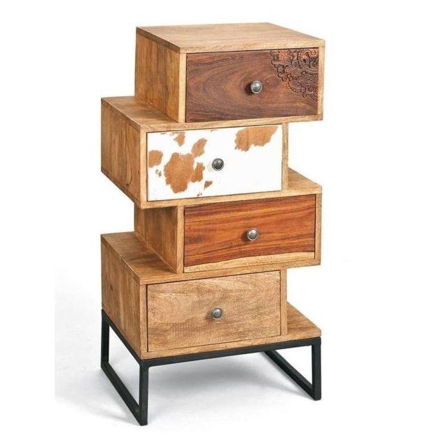 Inside 75 Commode Sua 4 tiroirs en bois de manguier recycle