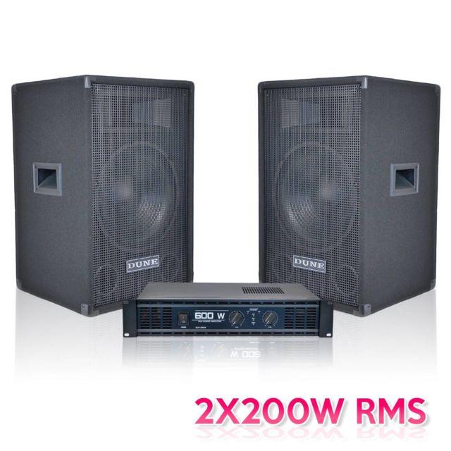 Edune Pack 2 enceintes + amplificateur stéréo 2x200 Wrms