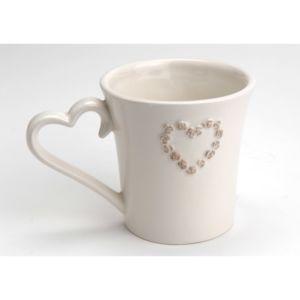 amadeus mug en dolomie c ur taupe blanc 38cl romance pas cher achat vente mug rueducommerce. Black Bedroom Furniture Sets. Home Design Ideas