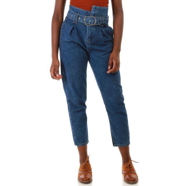 0b239e91f117e Lamodeuse - Jeans taille haute asymétrique Bleu - pas cher Achat ...
