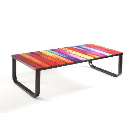 Table basse multi-couleur en verre trempé
