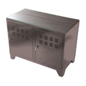 phsa meuble m tal 2 portes taupe 202814 pas cher achat vente bureaux rueducommerce. Black Bedroom Furniture Sets. Home Design Ideas