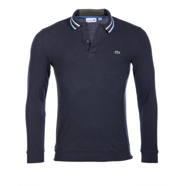 2438a1d9483 Lacoste - Lacoste Homme - Polo bleu marine coton piqué classic fit manches  longues Ph9073
