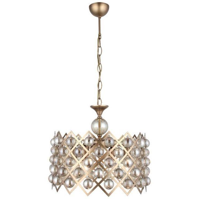 bon plan Homemania Lampe à Suspension Taranto - Lustre - Lustre de plafond - Cuivre en Métal, Verre, 40 x 40 x 90 cm, 4 x E14, 40 W