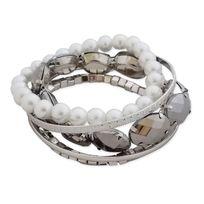Totalcadeau - Association de 5 bracelets fantaisie blancs et argentés bijou fantaisie pas cher