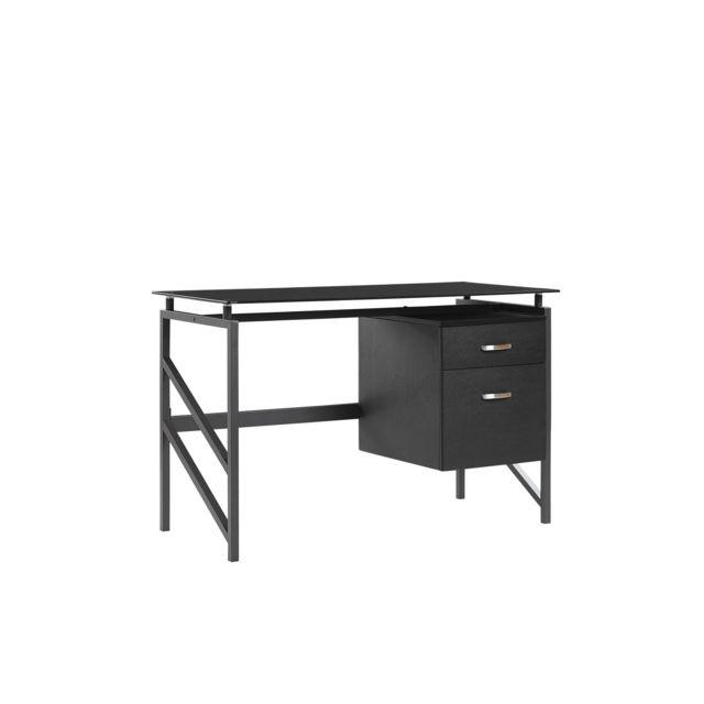 BELIANI Bureau plateau en verre noir 117 x 57 cm MORITON - marron