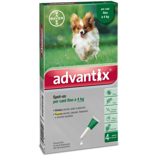 Bayer Advantix antiparasitaire Spot On anti-puce pour les chiens jusqu'à 4 kg